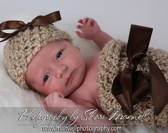 Newborn Cocoon and Hat Set Rococco Beige