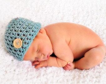 Little Mister Button Beanie Hat Blue Tweed