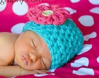 Aqua Pink Little Miss Newborn Baby Beanie Hat