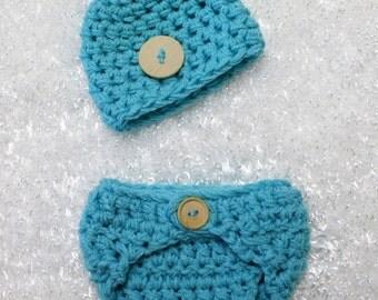 Little Man Diaper Cover Hat Set Aqua Blue