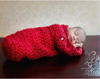 Red Newborn Cocoon Photo Prop