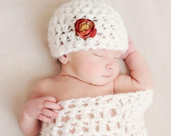 Newborn Snow White Cocoon Beanie Hat Set