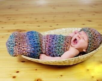 Watercolors Newborn Cocoon Beanie Hat Set