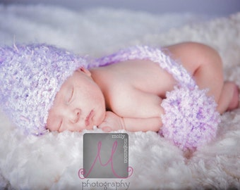 Newborn Pixie Elf Hat Photo Prop Lavendar Purple