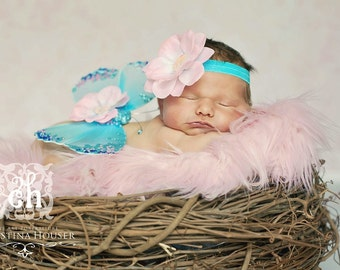 Soft Pink Mongolian Faux Fur Rug Nest Photography Photo Prop 20x13 Newborn Baby