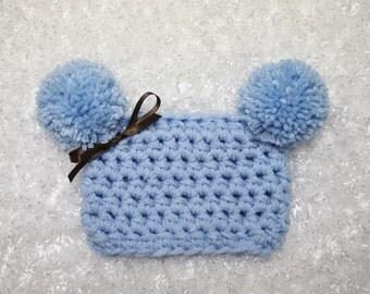 Baby Blue Newborn Pom Pom Sack Hat