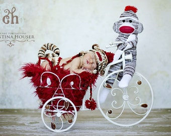 Red Mongolian Faux Fur Rug Nest Photography Photo Prop 27x20 Newborn Baby Toddler Backdrop Floordrop