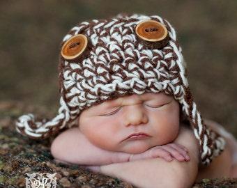 Brown White AVIATOR Bomber Hat Newborn Baby