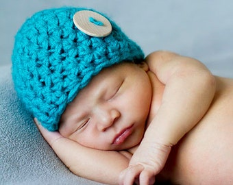 Aqua Blue Newborn Button Beanie Hat Baby