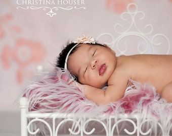 Frosted Red Mongolian Faux Fur Rug Nest Photography Photo Prop 20x13 Newborn Baby Toddler