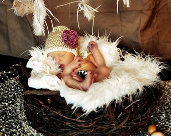 SET White Faux Fur, Wood Branch Nest, Owl Nest, Bird Nest, Newborn Nest, Newborn Photography, Photo Prop