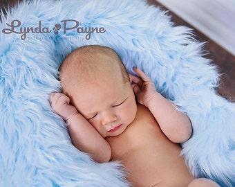 Baby Blue Fur, Mongolian Faux Fur, Fur Blanket, Photography Prop, Faux Fur Rug, Newborn Fur, Newborn Photography, Baby Photography, 30x35