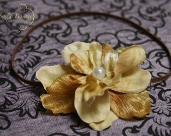 Cream and Tan Vintage Inspired Flower Headband