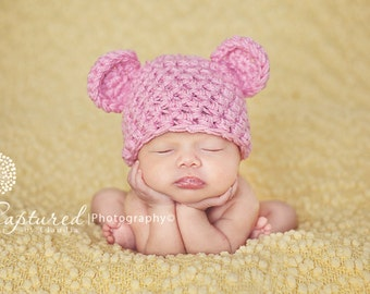 Newborn Pink Teddy Bear Hat