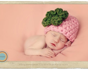 Newborn Pink Flower Hat Green Flower