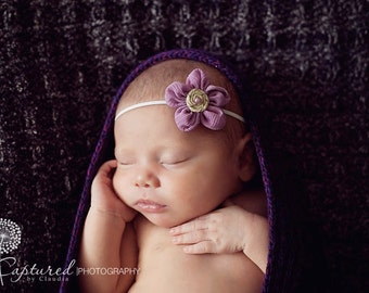Newborn Headband Purple Gauze Flower Skinny