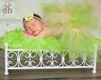 Lime Green Mongolian Faux Fur Rug Nest Photography Photo Prop 27x20 Newborn Baby Toddler Mat Backdrop Floordrop