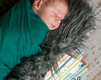 Gray Grey Mongolian Faux Fur Nest Photography Prop Rug Newborn Baby Toddler 27x20
