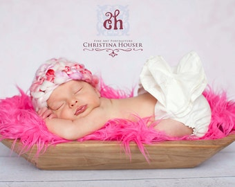 Hot Pink Mongolian Faux Fur Rug Nest Photography Photo Prop 20x13 Newborn Baby Toddler