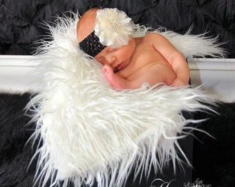 White Mongolian Faux Fur Rug Photography Photo Prop 27x20 Newborn Baby Toddler