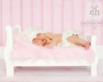 Soft Pink Mongolian Faux Fur Rug Photography Photo Prop 27x20 Newborn Baby