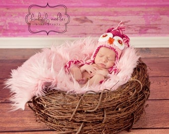 SET Soft Pink Faux Fur, Wood Branch Nest, Owl Nest, Bird Nest, Newborn Nest, Newborn Photography, Photo Prop