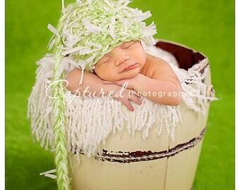 Newborn Pixie Elf Hat Photo Prop in Lime Green