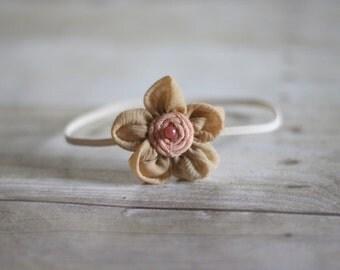 Beige Fabric Flower Skinny Headband
