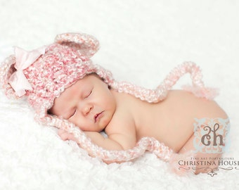 Pink Dreams Earflap Beanie Bear Hat