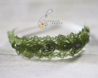 Pearl Fairy Halo Flower Headband in Olive Green