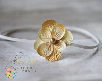 Cream Flower Skinny Headband