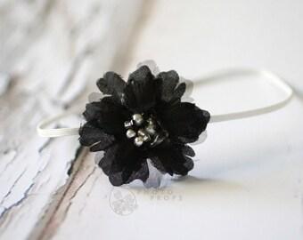 Black Flower Bead Headband