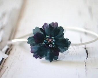 Midnight Blue Flower Bead Headband