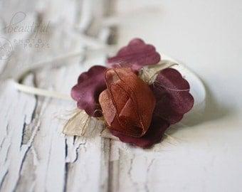 Fairy Flower Headband in Burgundy