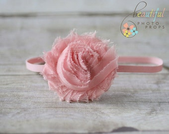 Pink Chiffon Headband Frayed Rosette Flower