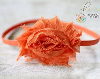 Orange Chiffon Headband Frayed Rosette Flower