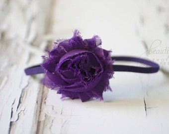 Purple Chiffon Headband Rosette Flower