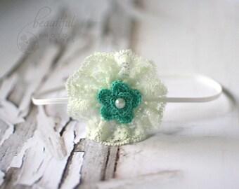 Aqua Mint Headband Lace Flower Skinny