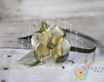 Olive Green Feather Veil Flower Headband