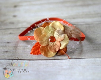 Orange Feather Veil Flower Headband