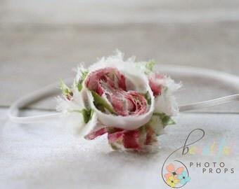 Floral Chiffon Rosette Flower Headband Pink Green