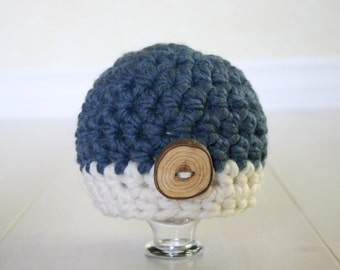 Newborn Beanie Hat Denim Blue Cream