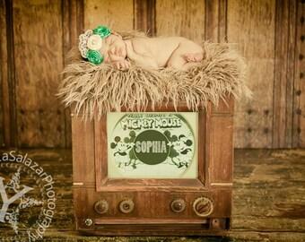 Caramel Brown Mongolian Faux Fur Rug Nest Photography Photo Prop 27x20 Newborn Baby Toddler Mat Backdrop Floordrop