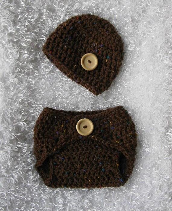 Tweedle Dee Diaper Cover and Hat in Brown