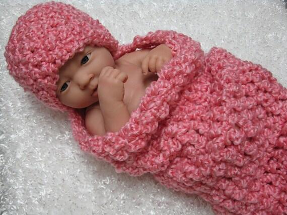 Bubble Gum Pink Newborn Cocoon Hat Set