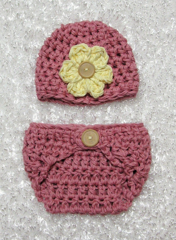 Rose Garden Cotton Diaper Cover Hat Set