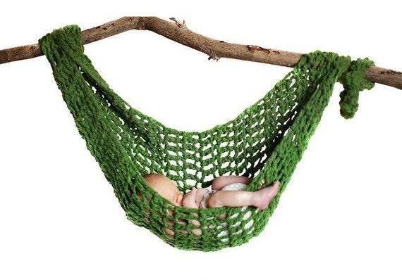 newborn hammock pod photo prop in green grass