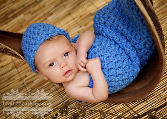 Chunky Newborn Cocoon and Hat Set Sky Blue