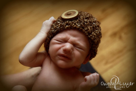 Little Mister Newborn Baby Beanie Hat in Brown Sugar