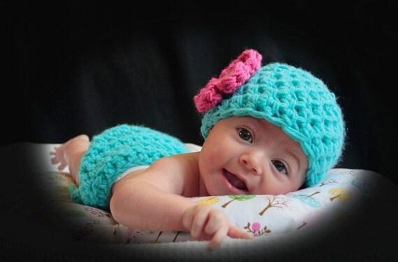 Little Miss Diaper Cover Hat Set in Aqua Pink
